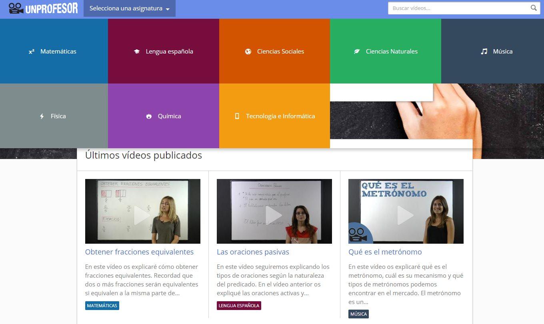 unprofesor, proyecto educativo con vídeos en español de diferentes asignaturas