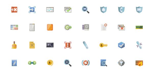 íconos Flat Relacionados Con Seguridad
