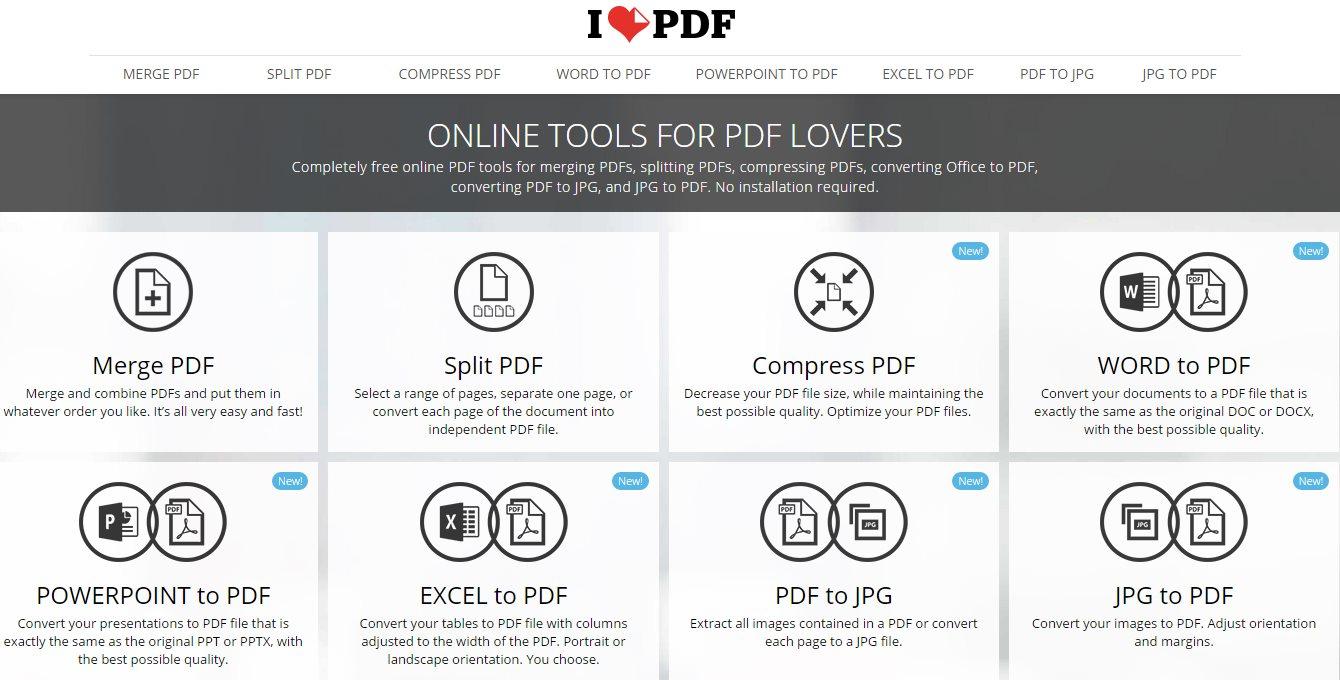 iLovePDF ya nos permite comprimir PDFs, pasar de Word, Excel y Powerpoint a PDF, pasar de PDF a JPG…