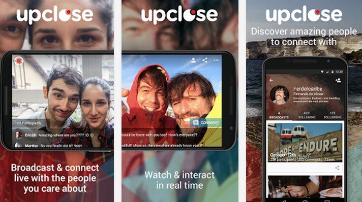 upclose, para transmitir vídeo en directo usando el móvil