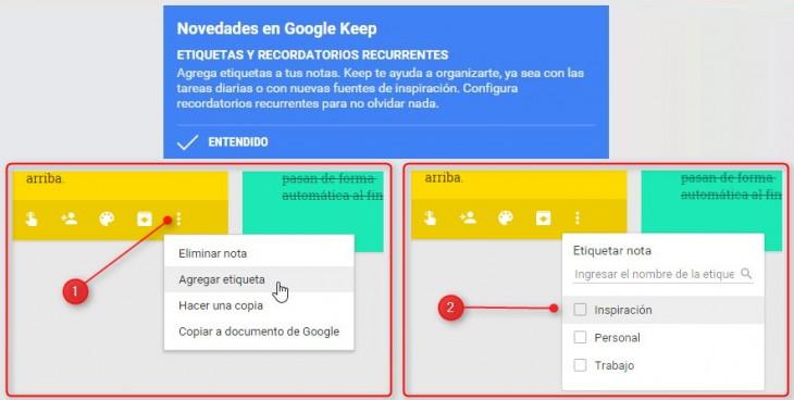 google keep etiquetas