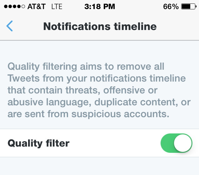 quality filter twitter