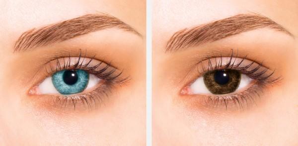 ojos azules y marrones