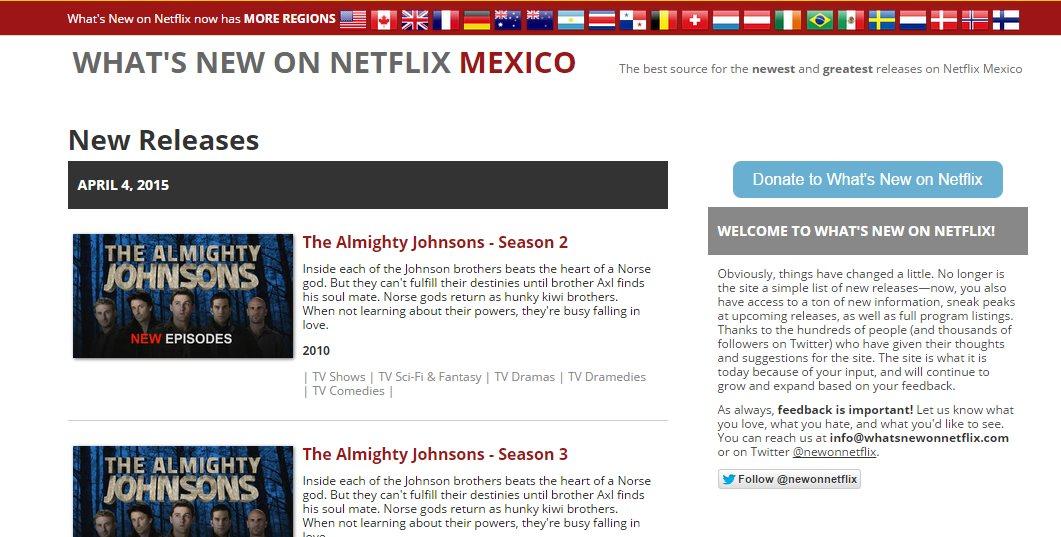 Una web para conocer las novedades diarias de Netflix en cada país