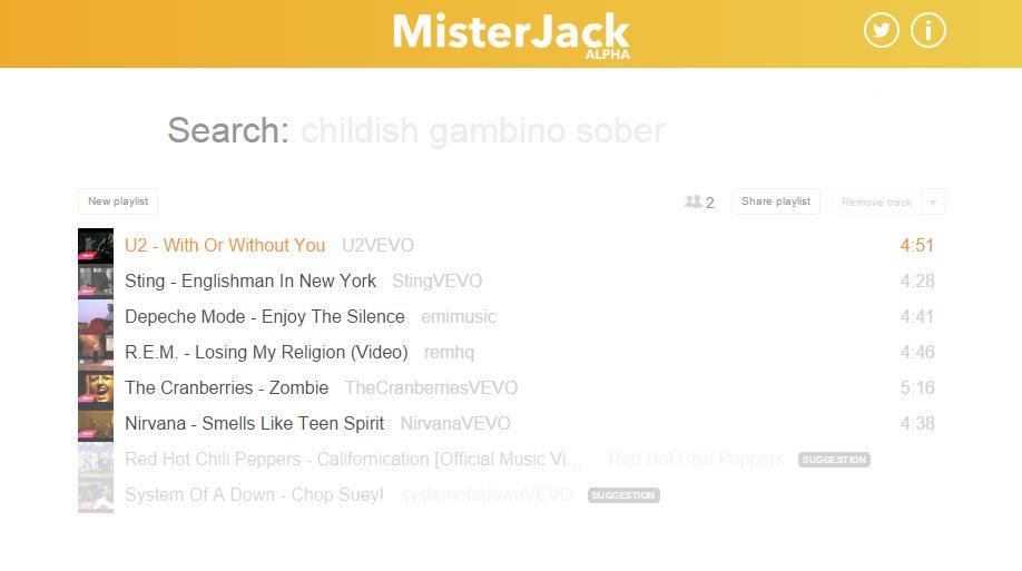 misterjack, para crear y compartir listas de música, sin necesidad de registro
