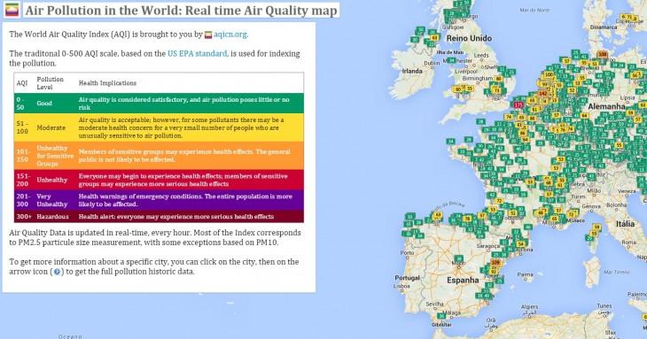mapa polución