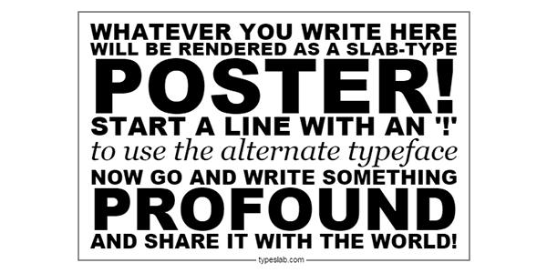 TypeSlab: Crea Y Comparte Posters Tipográficos