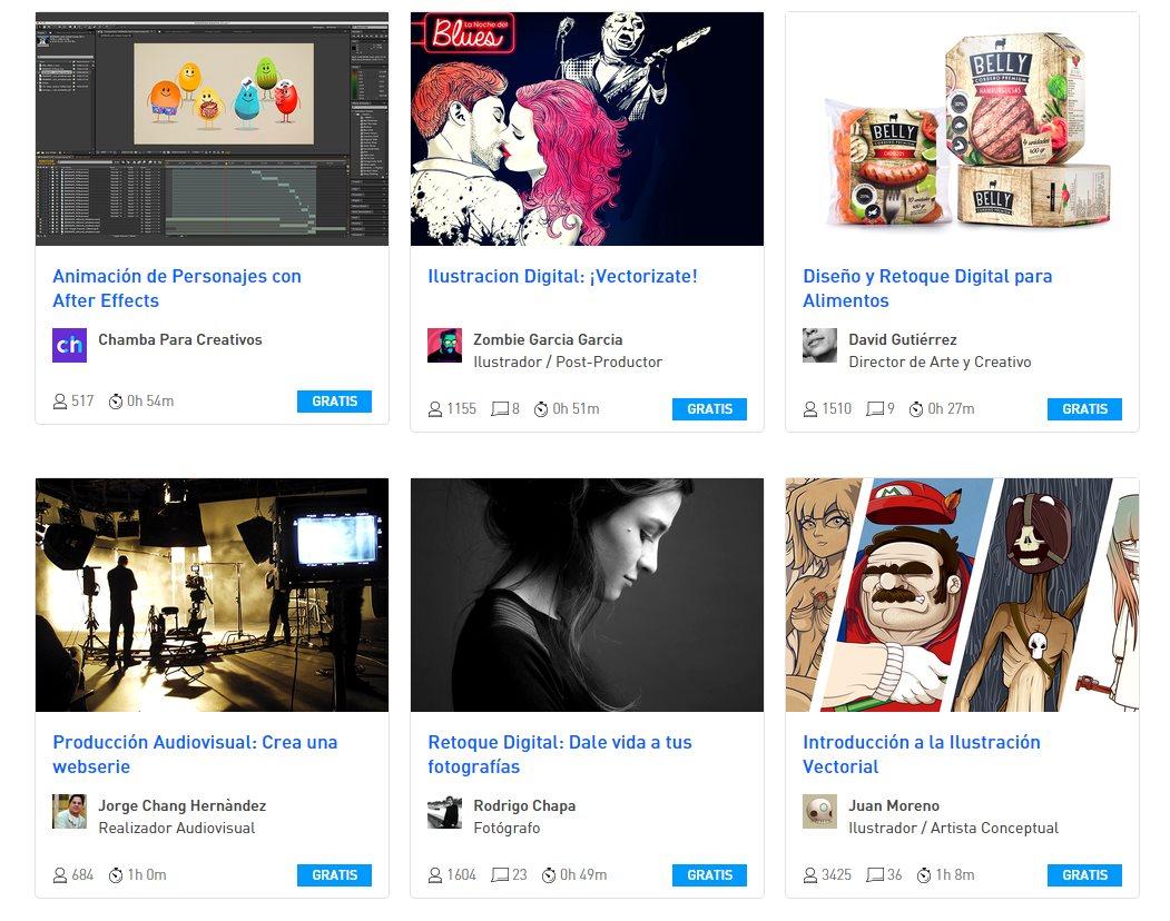 Cursos online gratuitos de Diseño, Fotografía, Ilustración y Audiovisual