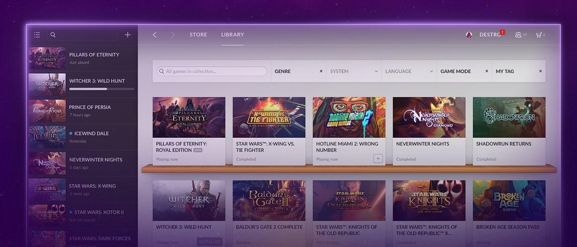 Gog Galaxy, plataforma de juegos sin DRM