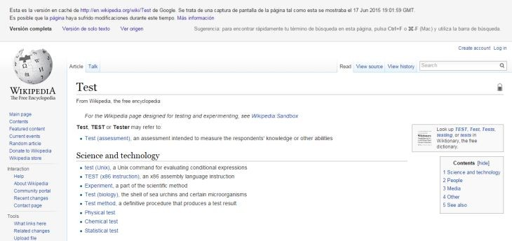 Wikipedia-Cache
