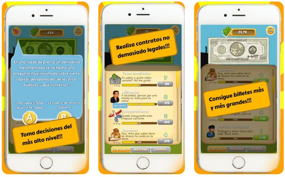 Un juego para móviles donde debemos ser un político corrupto