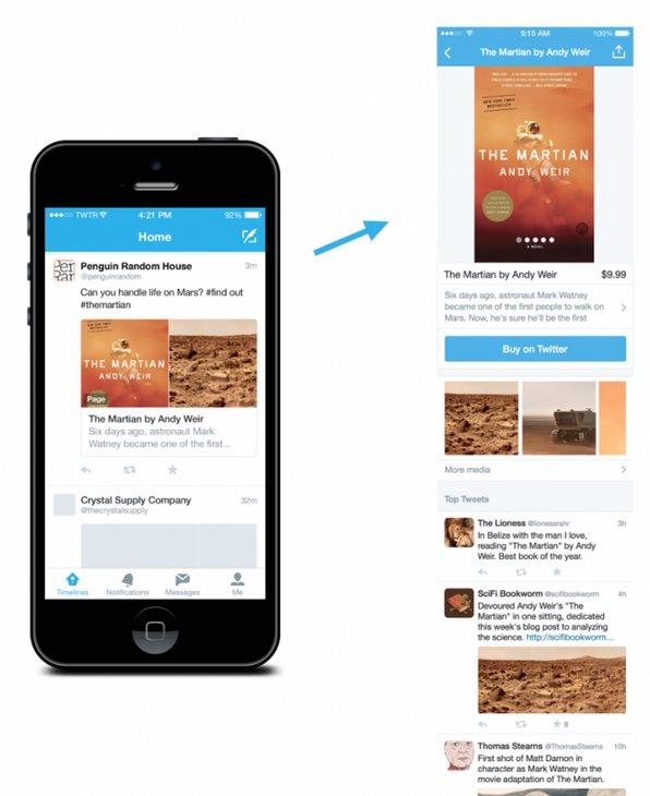 Ejemplo de página sobre un libro en Twitter