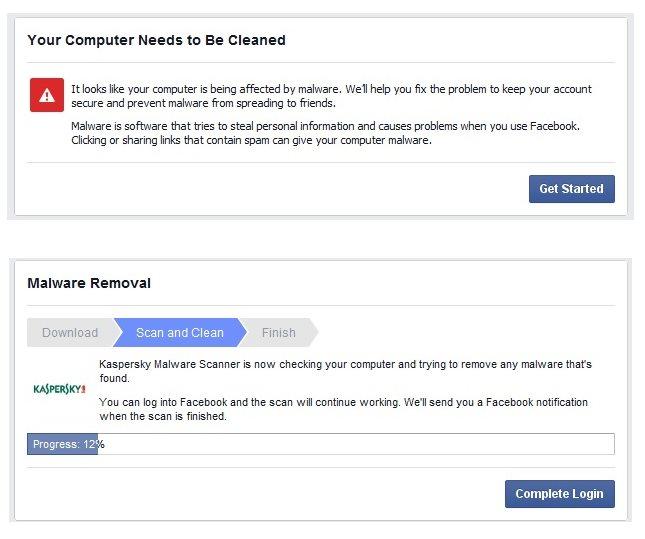 Mensajes enviados por Facebook cuando detecta actividad sospechosa