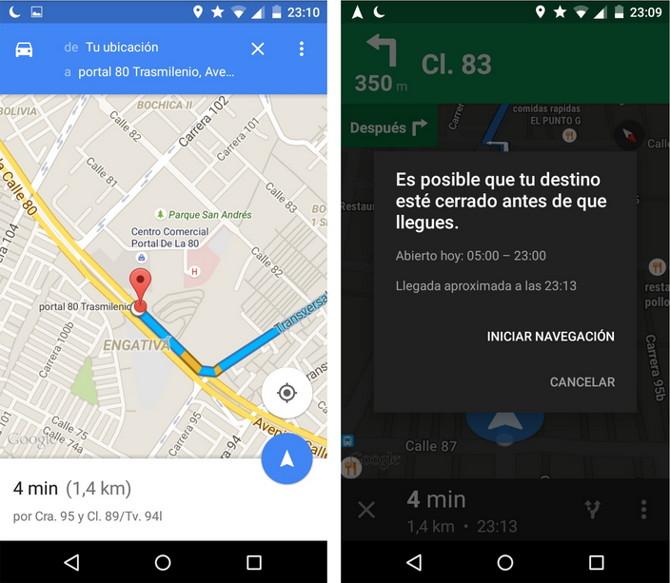 google maps avisos tarde