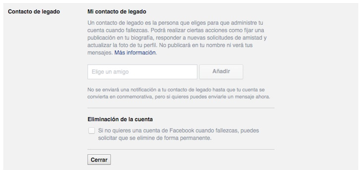 Facebook - Contacto de legado