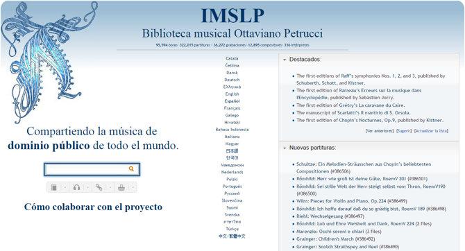 IMSLP, librería gratuita con miles de grabaciones, obras y partituras