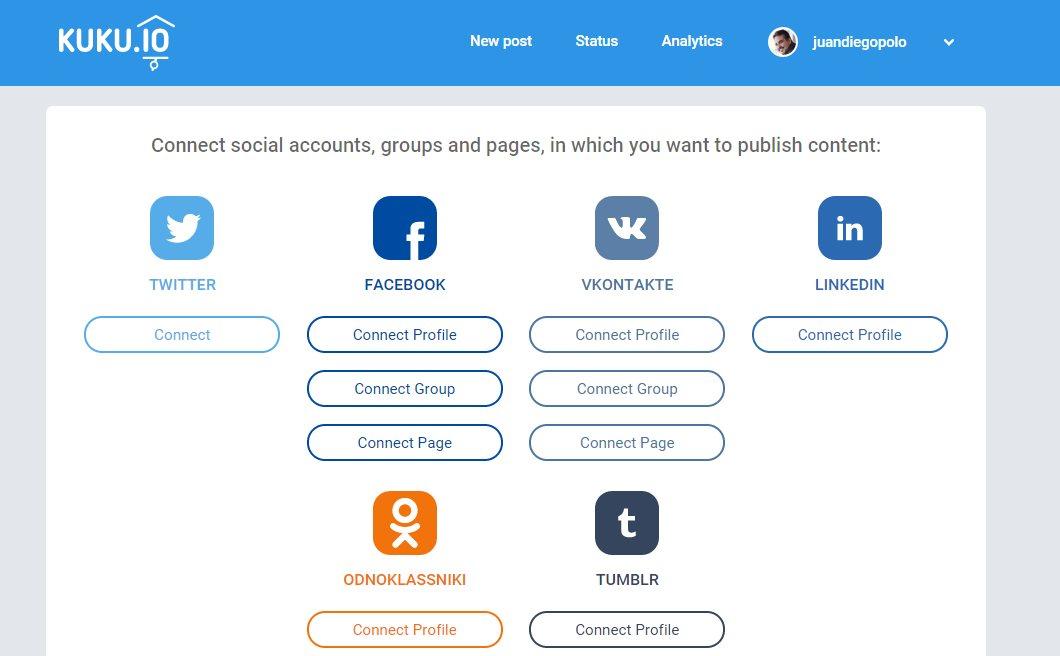 Kuku, nueva opción para publicar en varias redes sociales al mismo tiempo