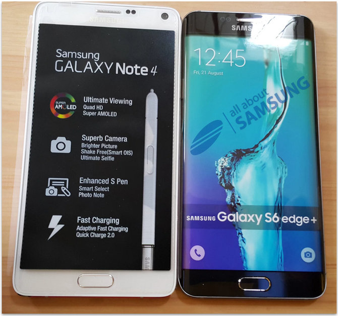 Galaxy Note 4 vs Galaxy S6 Edge Plus; Ví­a: All About Samsung