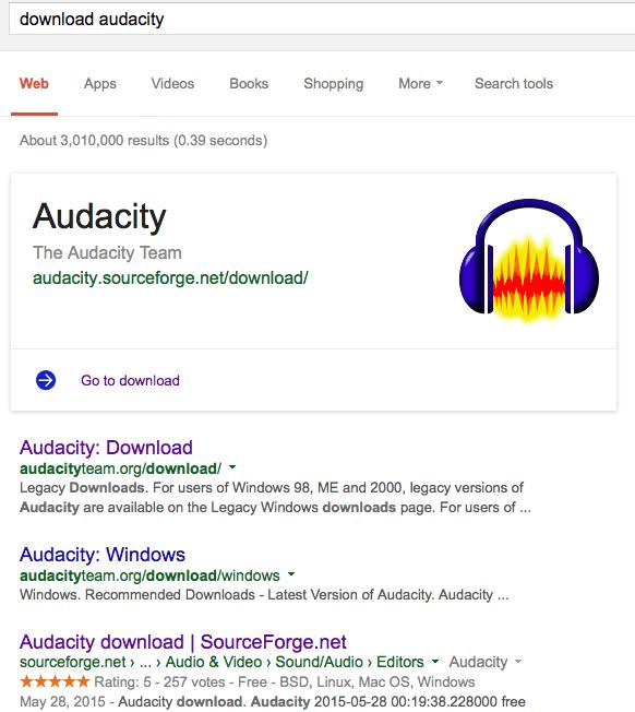 El enlace a SourceForge aparece antes que el oficial, el de Audacity