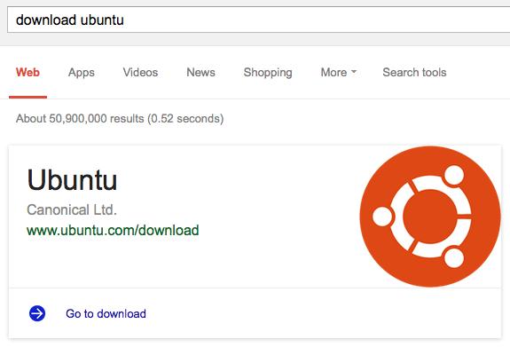 """Lo que aparece al buscar por """"download Ubuntu"""""""