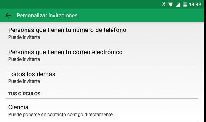 hangouts android invitaciones