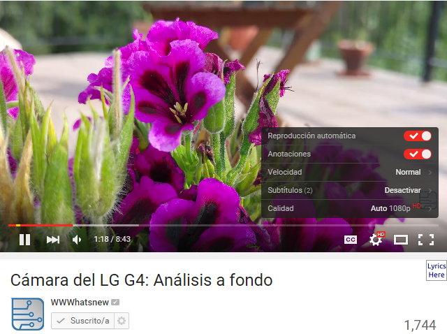 Nuevo aspecto del reproductor de YouTube