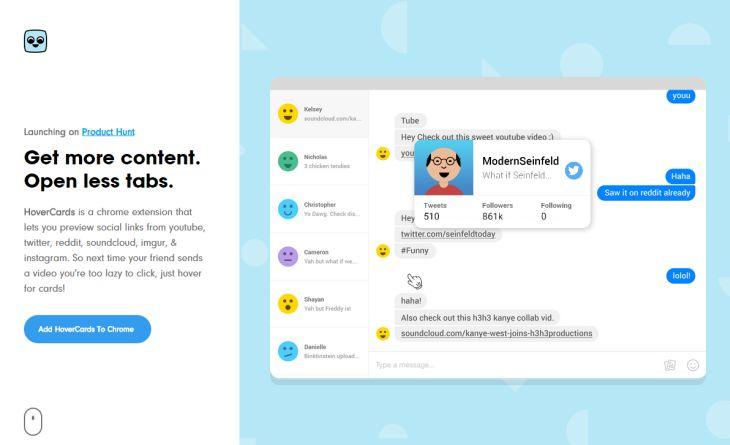 HoverCards, extensión para Chrome que ofrece información contextual de enlaces de perfiles sociales