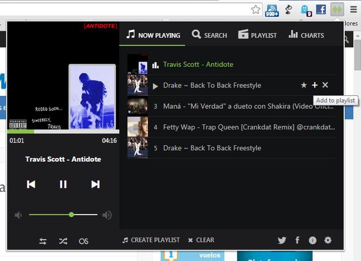 UpNext Music Player, para escuchar música de YouTube y SoundCloud desde Chrome