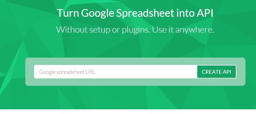 sheetsu, para crear una API a partir de una hoja de cálculo de Google