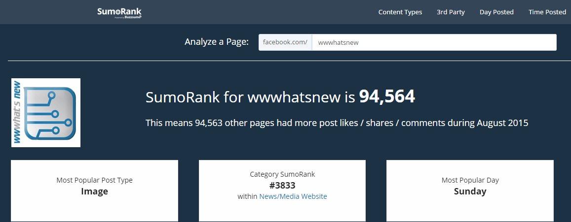 sumorank, nueva herramienta para análisis de páginas de Facebook