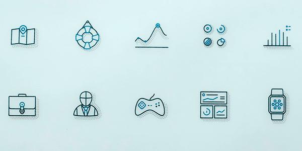 Una Colleción De 40 Iconos Outline