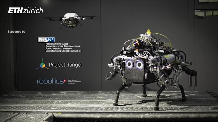 Crean un robot capaz de desplazarse por terreno desconocido con la ayuda de un dron