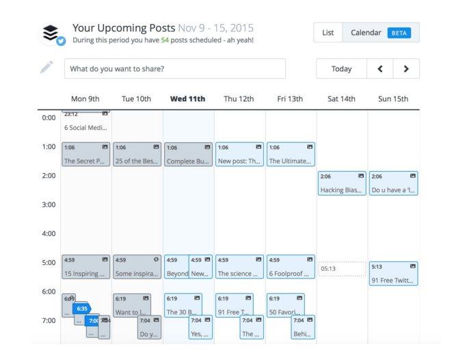 Nuevo calendario en Buffer