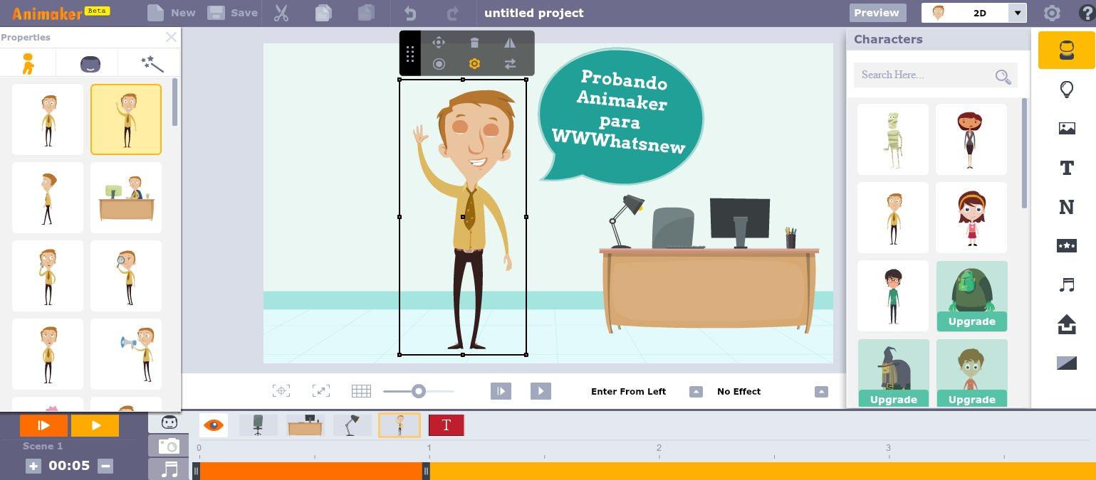 animaker, para crear animaciones y exportar el vídeo, directamente desde Internet