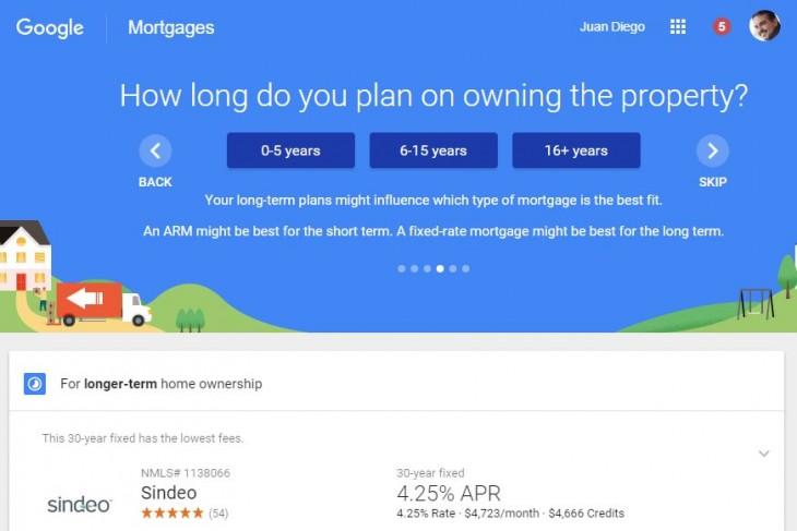 Resultados de una búsqueda de hipotecas