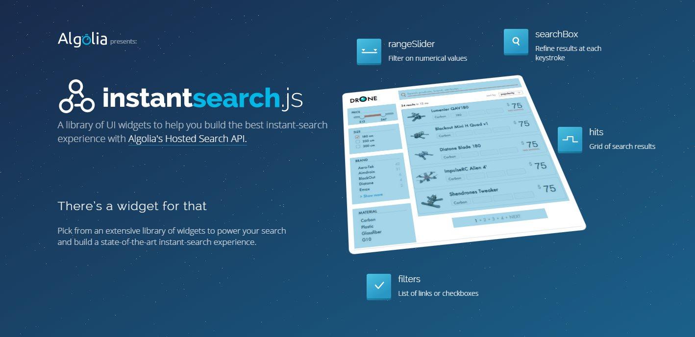 instantsearch.js, un proyecto opensource para crear sistemas de búsqueda en nuestro sitio web