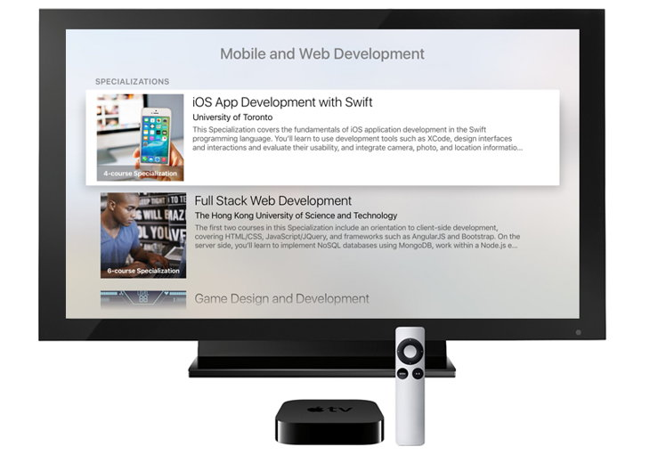 coursera apple tv