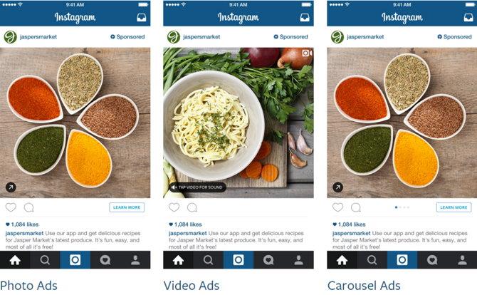 Formatos de anuncios en Instagram
