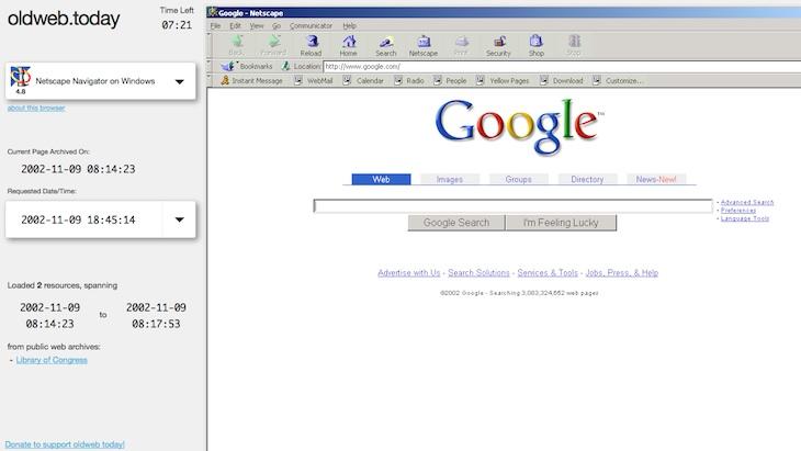 Web para visitar versiones antiguas de cualquier página con navegadores de la época