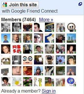 Ejemplo de caja Google Friend Connect