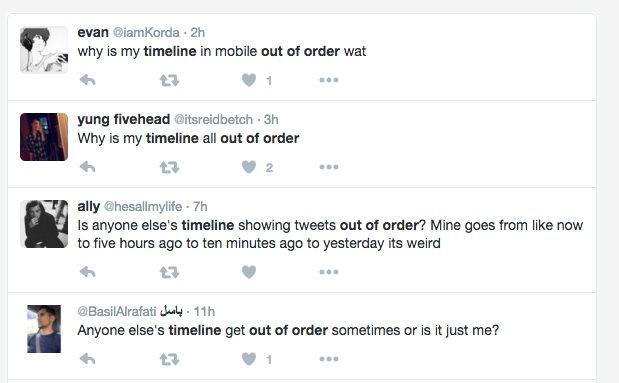 Algunos usuarios reclamando del nuevo orden de Tweets