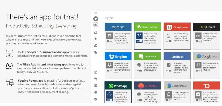 Algunas de las apps integradas en mailbird