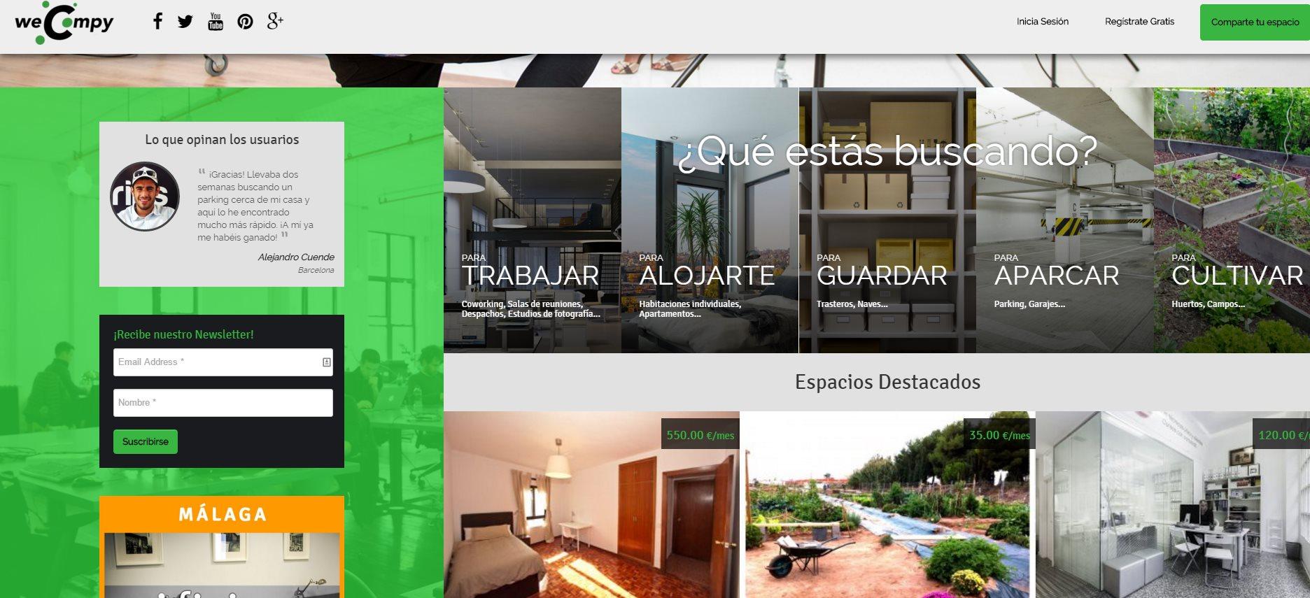 weCompy, un nuevo portal para compartir espacios de todo tipo