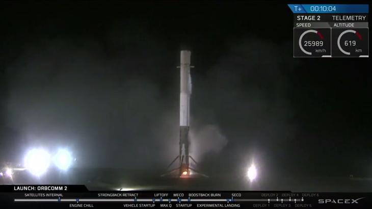 El Falcon 9 de Space X aterrizando