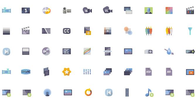 Set De Iconos Flat De Produccion De Videos