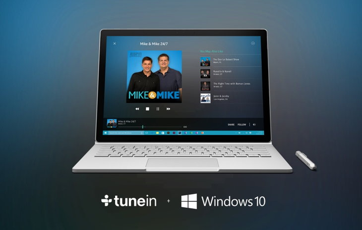 tunein radio windows 10