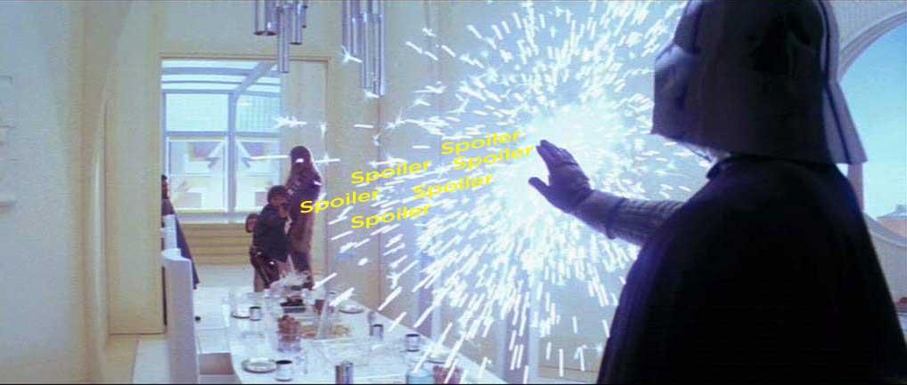 Darth Vader defendiéndose de los spoilers