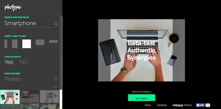 Una web para encontrar fotos de stock, recortarlas y añadir texto