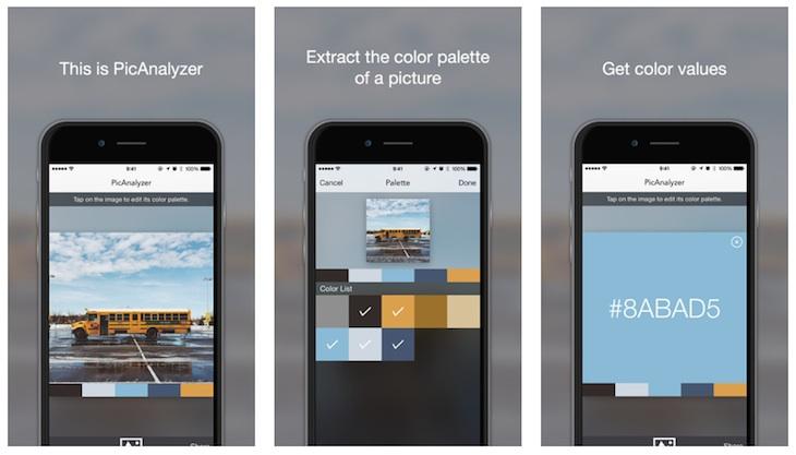 PicAnalyzer (iOS), para extraer la paleta de colores de cualquier imagen