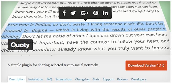 Quoty, un plugin de WordPress para compartir el texto seleccionado en redes sociales